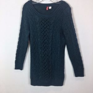 DIVIDED tunic cable knit sweater blue size 8